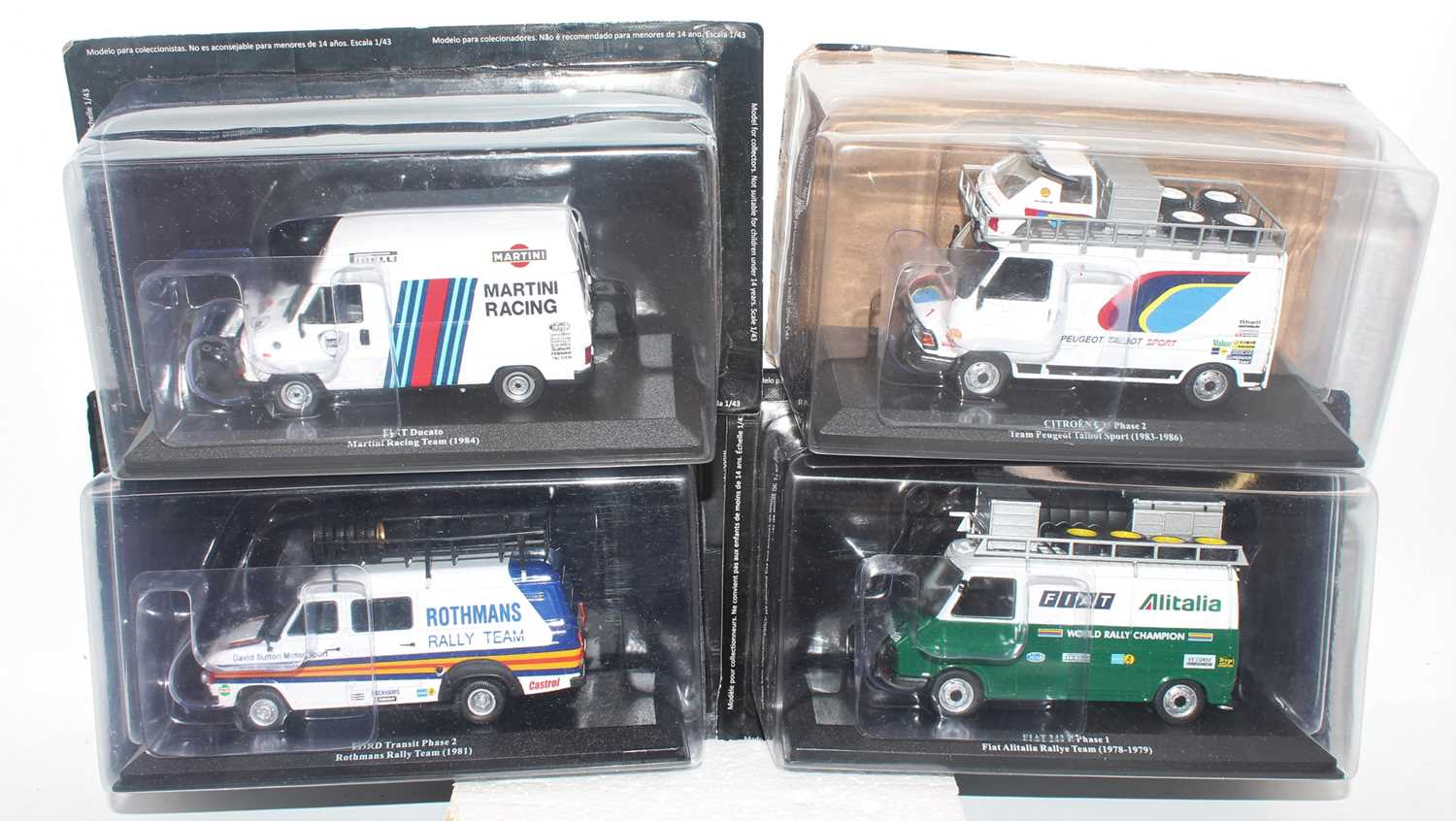 Four various De Agostini 1/43 scale racing vans to include a Fiat 242 E Phase 1 Fiat Italia race