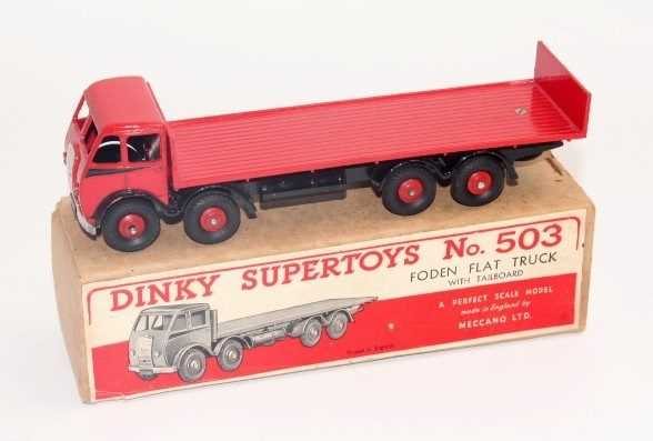 Dinky Toys No.503 Foden flat truck with tailboard, with a red cab and black flash, red back and