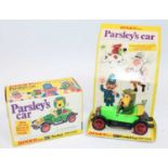 Dinky No. 477 Parsley's Car in pea green, black and yellow body with Parsley as the driver, red