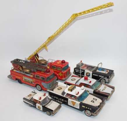 6 various loose Japanese tinplate Emergency Services vehicles to include Ichiko Police Patrol Car ( - Image 2 of 2