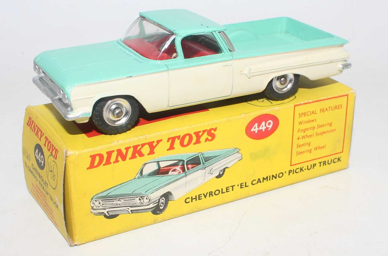 Dinky Toys No. 449 Chevrolet el Camino pickup truck comprising of turquoise and white body with