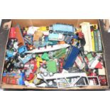 One tray containing a quantity of various playworn mixed diecast to include Corgi Toys, Dinky