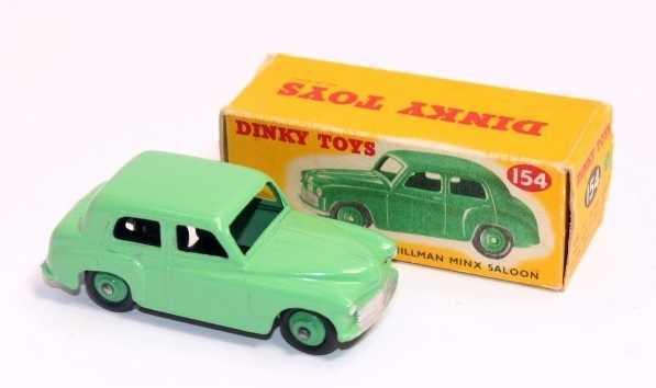 Dinky Toys 154 Hillman Minx Saloon, pale green body and hubs, in original correct colour spot box, - Image 2 of 3