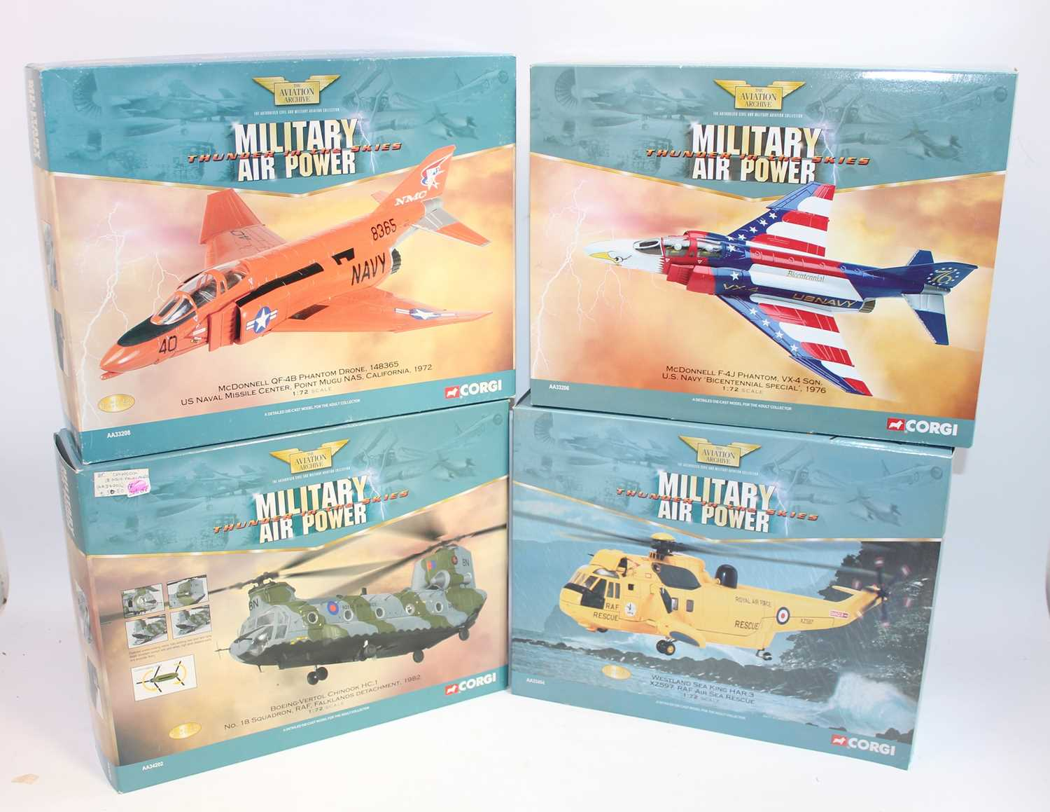 Four various boxed as issued Corgi Aviation Archive 1:72 diecast aircraft, mixed examples to include