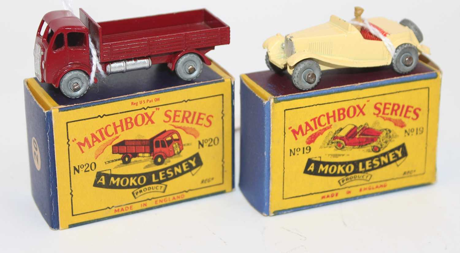 Matchbox group of 2 models as follows: Matchbox 19a MG TD. in cream with red seats, metal wheels and
