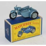 Matchbox Regular Wheels 4c Triumph Motorcycle & Sidecar in metallic silver-blue body with wire