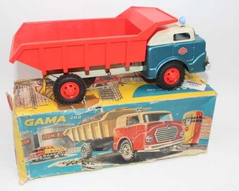 Gama No.298, tinplate and friction drive tipper truck, comprising of metallic blue cab, grey - Image 2 of 2