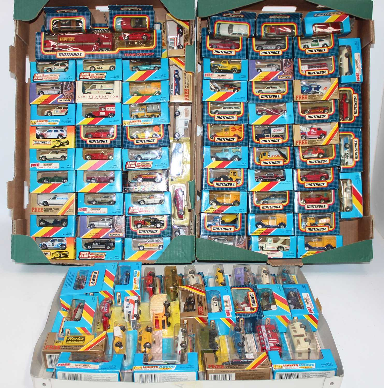 Matchbox group of 100+ models on cards or in boxes (some opened, packaging needs attention and