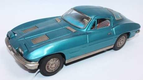 Ichida (Japan) Chevrolet Corvette Stingray, tinplate and battery-operated, metallic blue body with