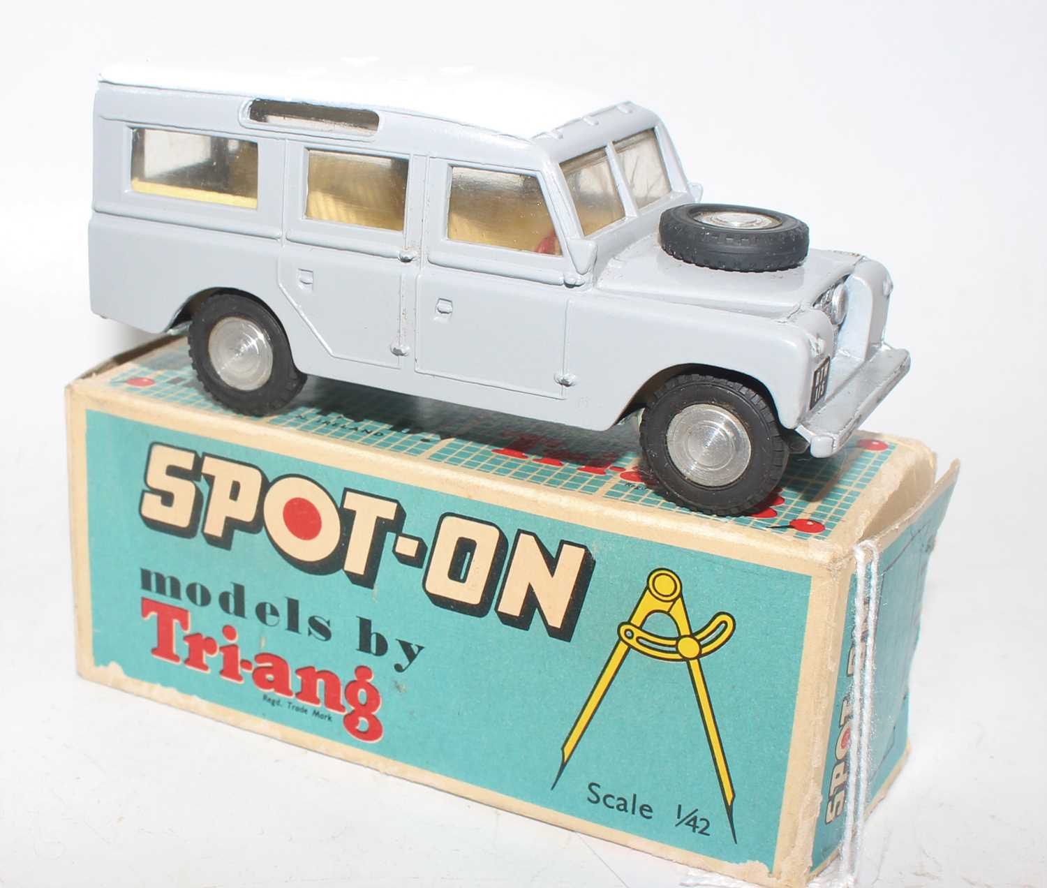 Spot-On by Triang No.161 Land Rover in grey and white, comes in its original non-picture box which - Image 2 of 2
