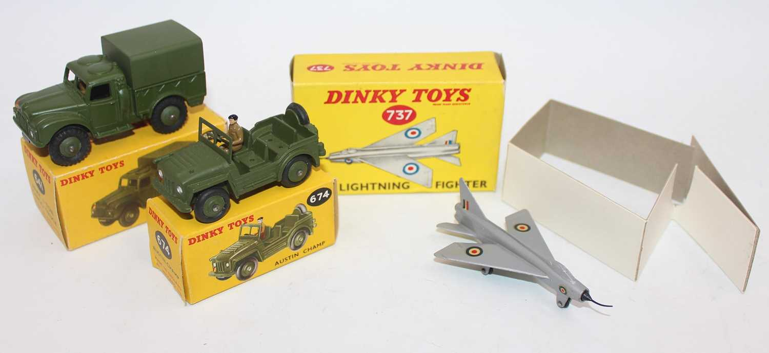 Dinky group of 3 military models as follows: 737 P.I.B Lightning Fighter complete with nose tip