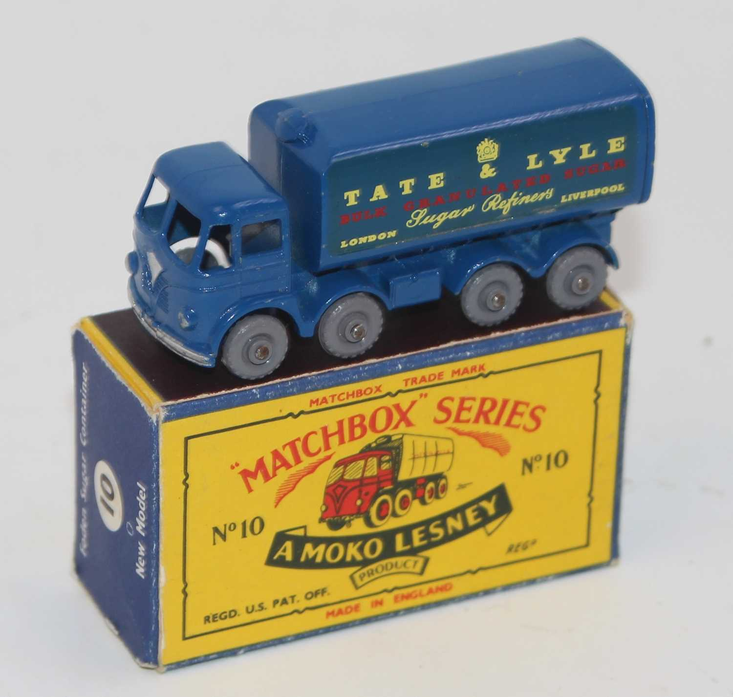 """Matchbox 1-75 Series No.10C Foden Sugar Container """"Tate & Lyle"""" in blue, with rear crown, silver"""