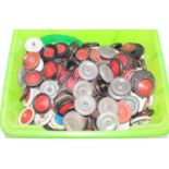 A large box containing a mixed quantity of various Meccano and tinplate wheels, mixed issues to