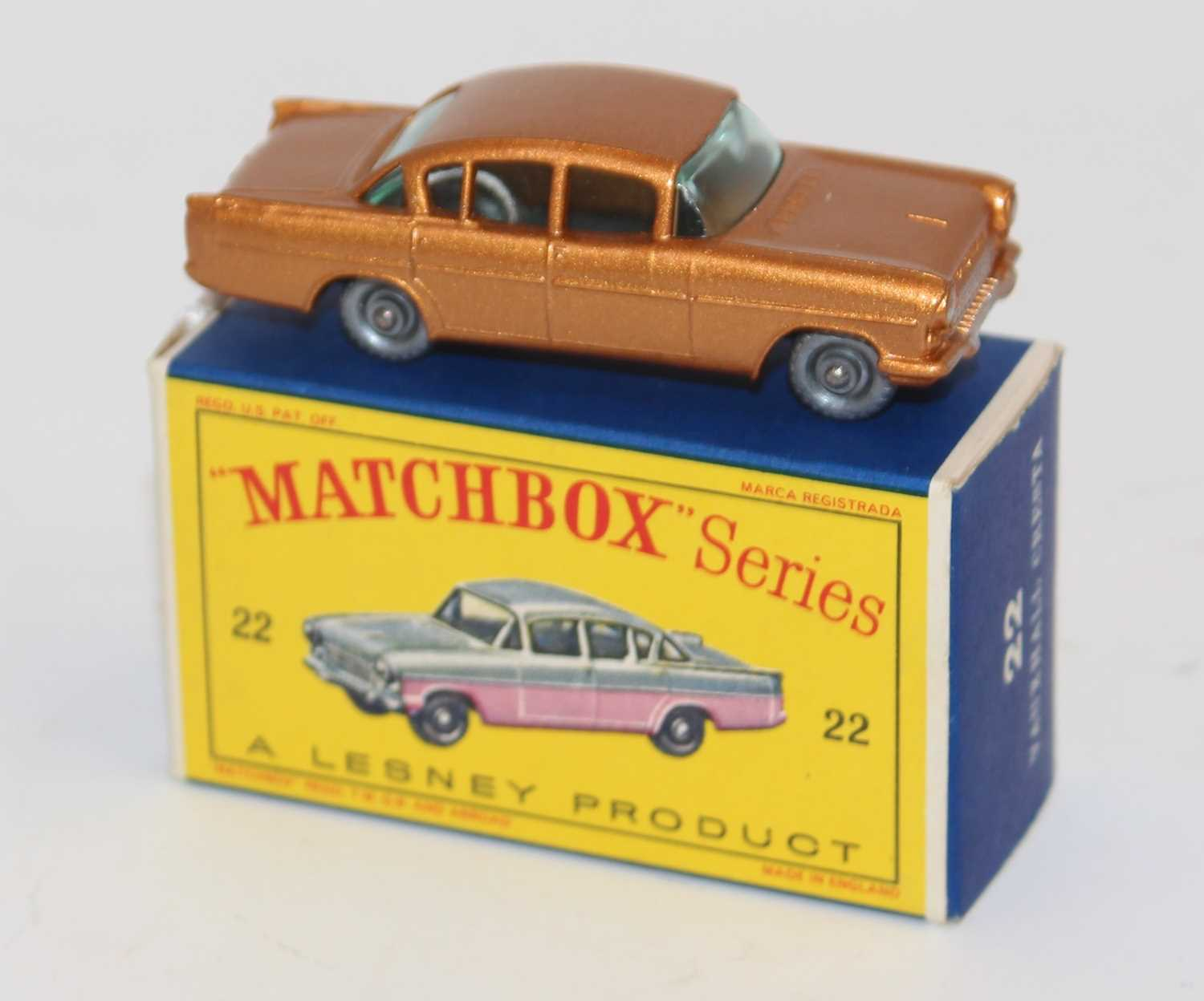 A Matchbox No.22 1958 Vauxhall Cresta comprising of metallic copper body with black base and - Image 2 of 2