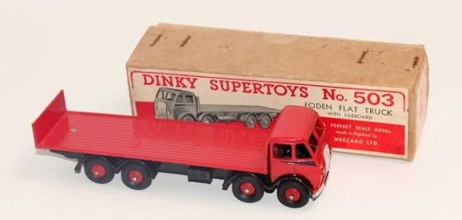 Dinky Toys No.503 Foden flat truck with tailboard, with a red cab and black flash, red back and - Image 2 of 3