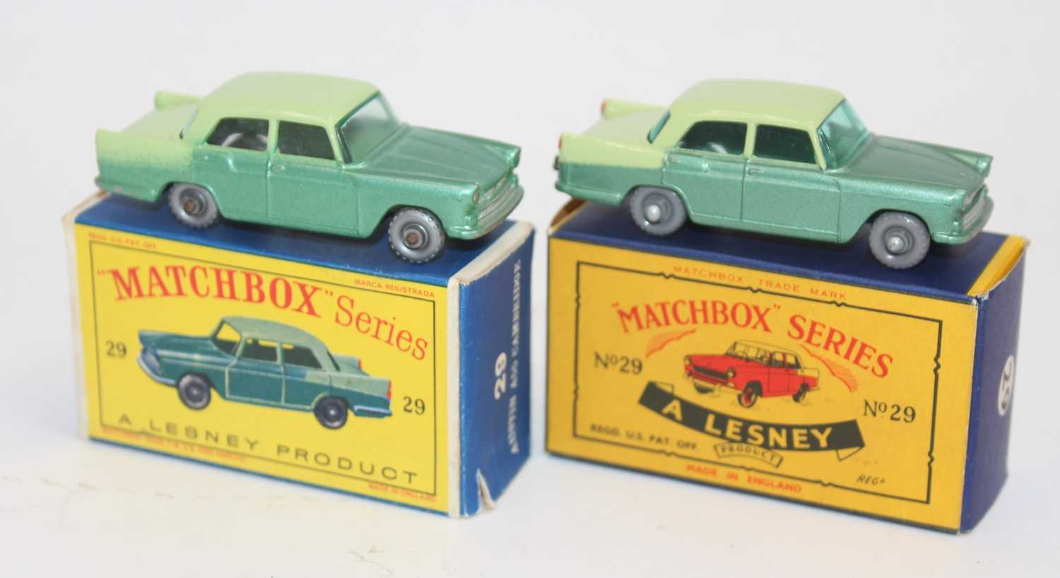 Matchbox group of 2x 29b Austin Cambridge model variations with very good boxes as follows: Matchbox - Image 2 of 2