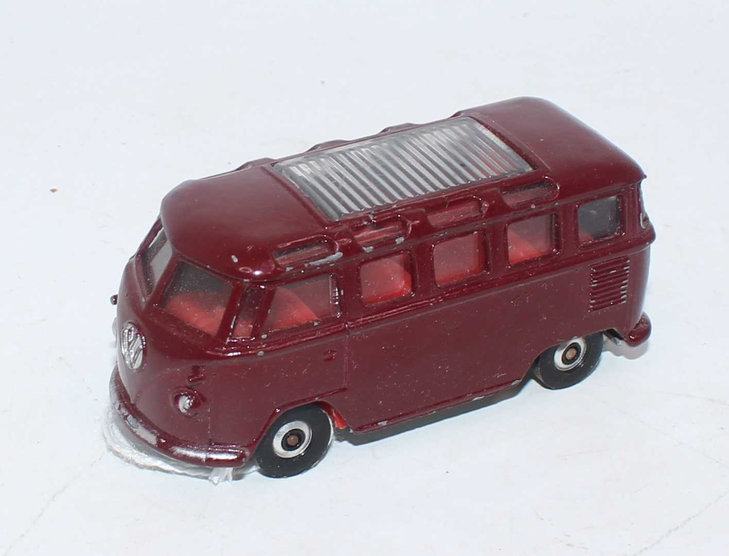 A Lonestar Road-Supercars series 1/59 scale model of a VW Microbus, finished in maroon with silver