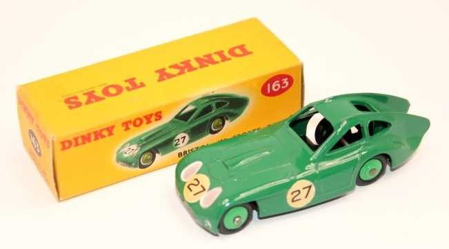 A Dinky Toys No. 163 Bristol 450 Sports Coupe, green body with racing No. 27 and mid-green hubs,
