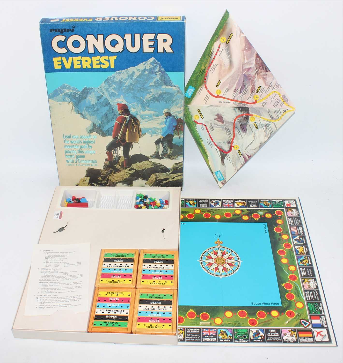 A Capri recommended by Wembley, Conquer Everest 3D mountaineering board game, housed in the original