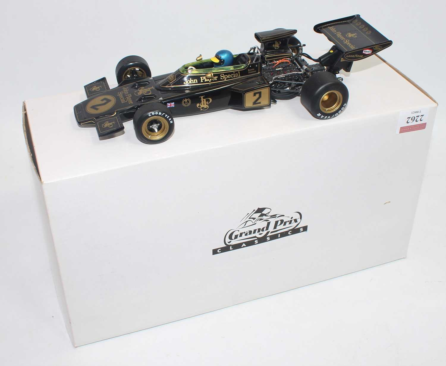 An Exoto Grand Prix Classics 1/18 scale model of a Lotus Ford Type 72D John Player Special Formula