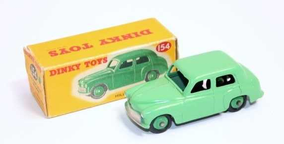 Dinky Toys 154 Hillman Minx Saloon, pale green body and hubs, in original correct colour spot box,