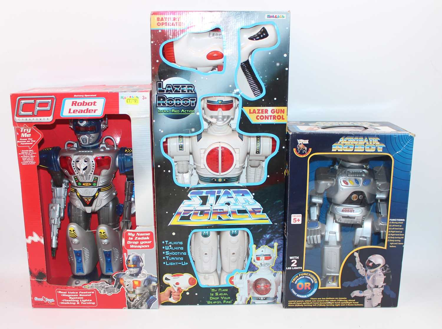 Six various boxed modern release plastic and battery operated various robots, to include a super - Image 3 of 3