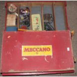 Meccano 1959a box set containing a quantity of various mixed issue Meccano, all heavily used,
