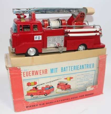 Bandai, tinplate and battery operated model of a IF-821 Fire Engine, finished in red and silver, - Image 2 of 3