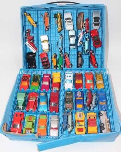 Matchbox style Carry case of 47 mixed loose, mainly Matchbox, Corgi, and Siku models in fair to good