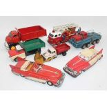 7 various loose tinplate vehicles to include ATC of Japan Tipper Truck, Yoshiya Tinplate Fire