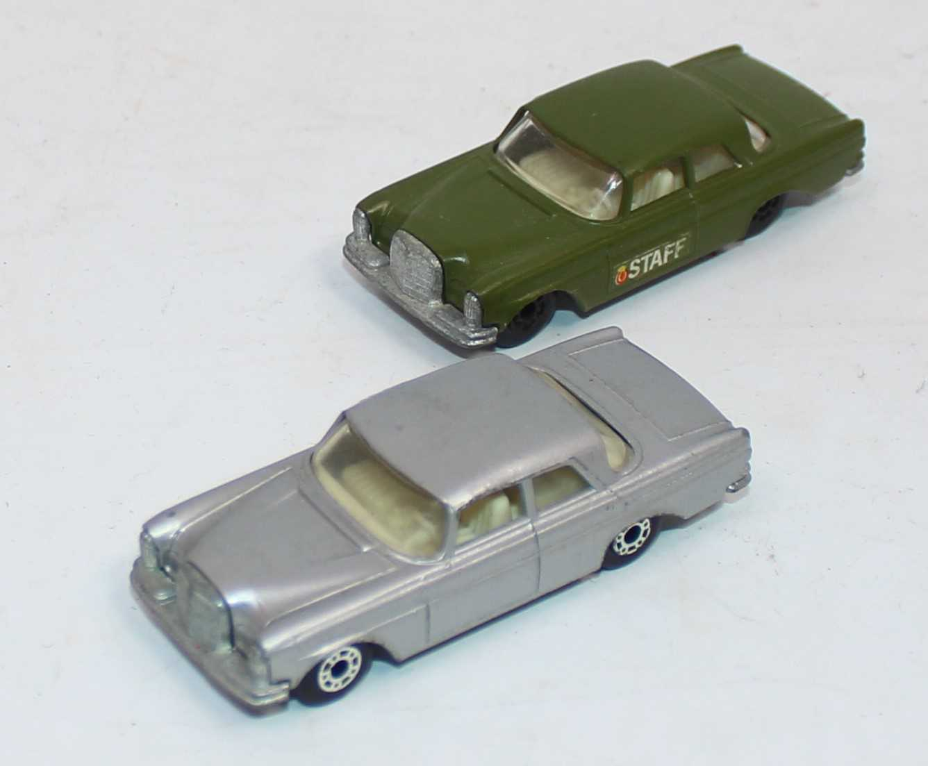 Matchbox group of 2 Mercedes 300SE late superfast Tesco Value Pack models, one in silver and the