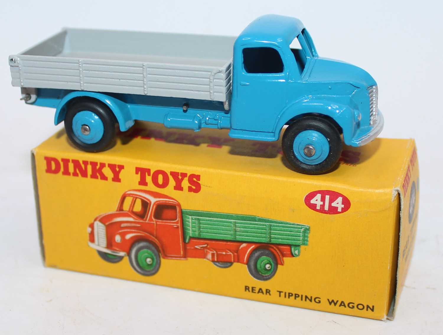 Dinky Toys No.414 Rear Tipping Wagon with light blue cab and chassis with grey back and matching - Image 2 of 2
