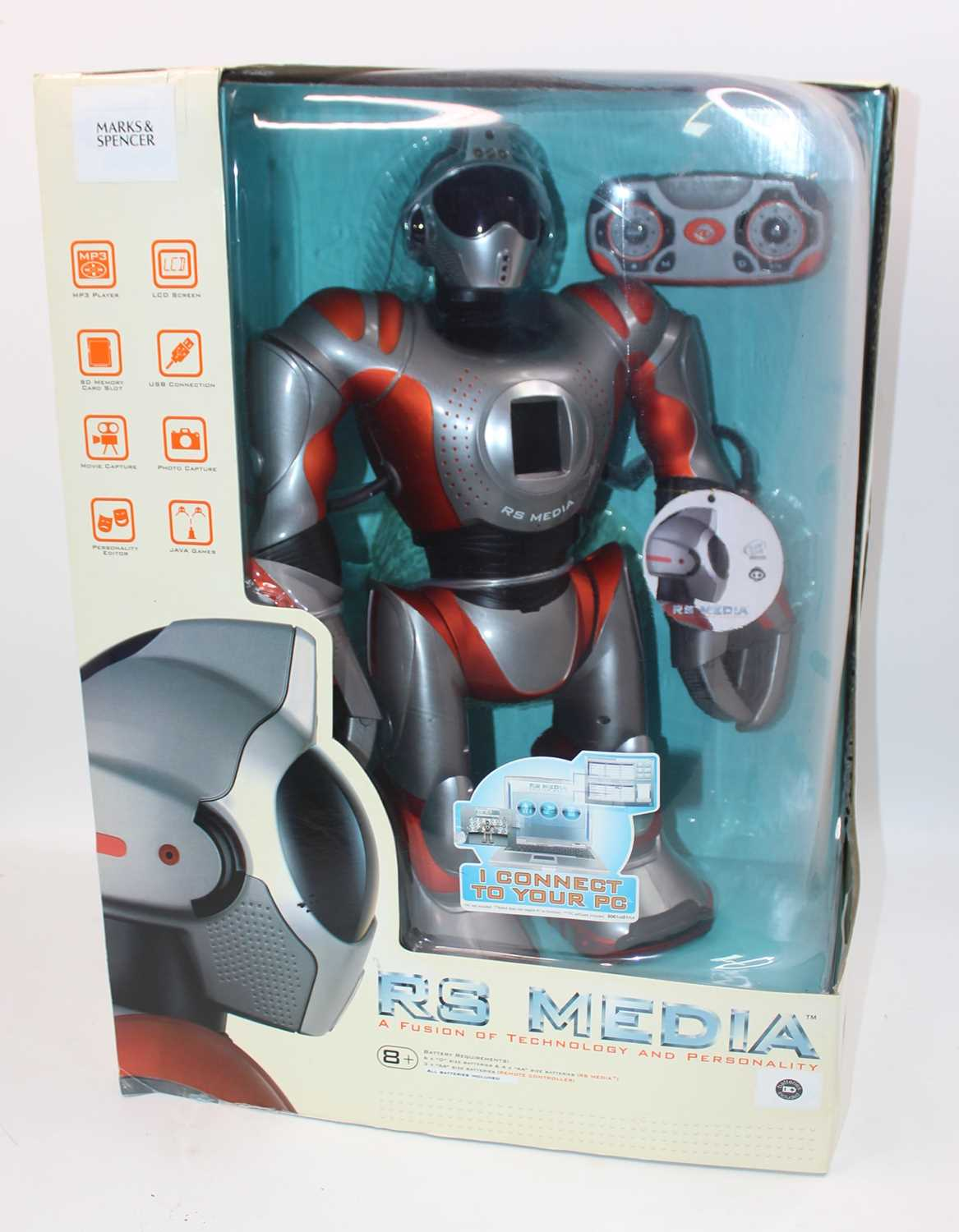 Wow Wee Product RS Media Large Scale Robot, un-opened example, appears complete in the original box