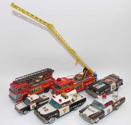 6 various loose Japanese tinplate Emergency Services vehicles to include Ichiko Police Patrol Car (