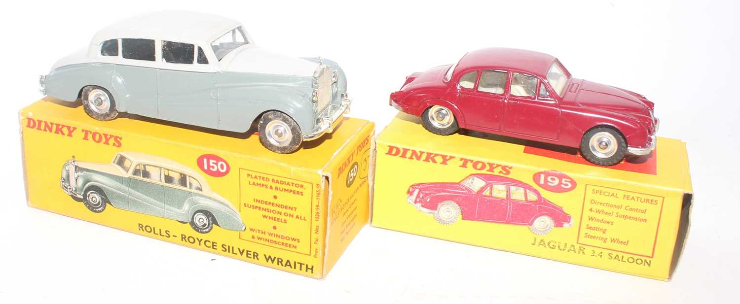 Dinky Toys boxed saloon diecast group to include a No. 150 Rolls Royce Silver Wrath comprising of - Image 2 of 2