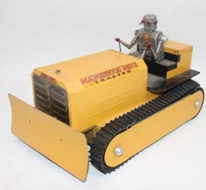 """Saunders (USA) Tinplate Battery Operated """"Marvellous Mike"""" Robot Tractor - impressive pressed"""