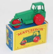 Matchbox, No1 Aveling Barford Diesel road roller, green with the later D box, (M-BNM)