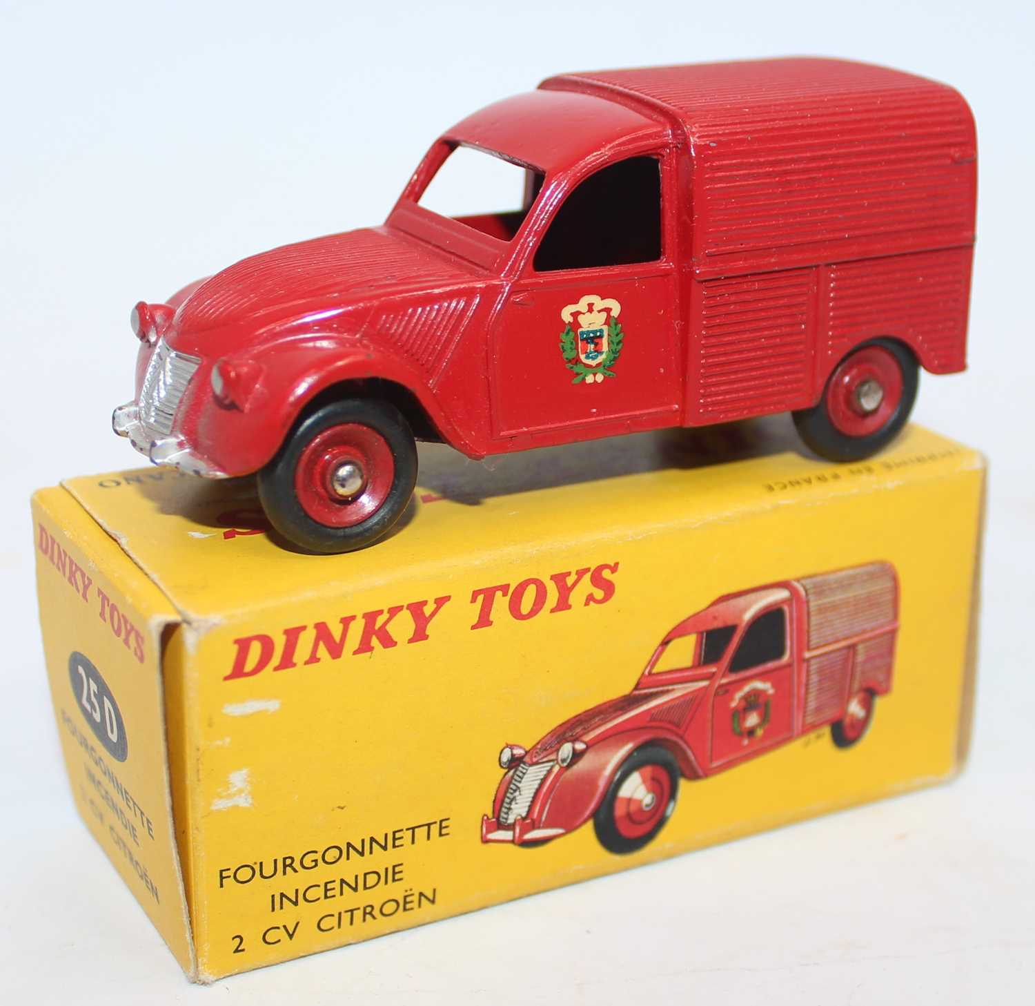 French Dinky Toys No.25D Citroën 2CV Incendie fire van in red with red hubs and Fire Brigade