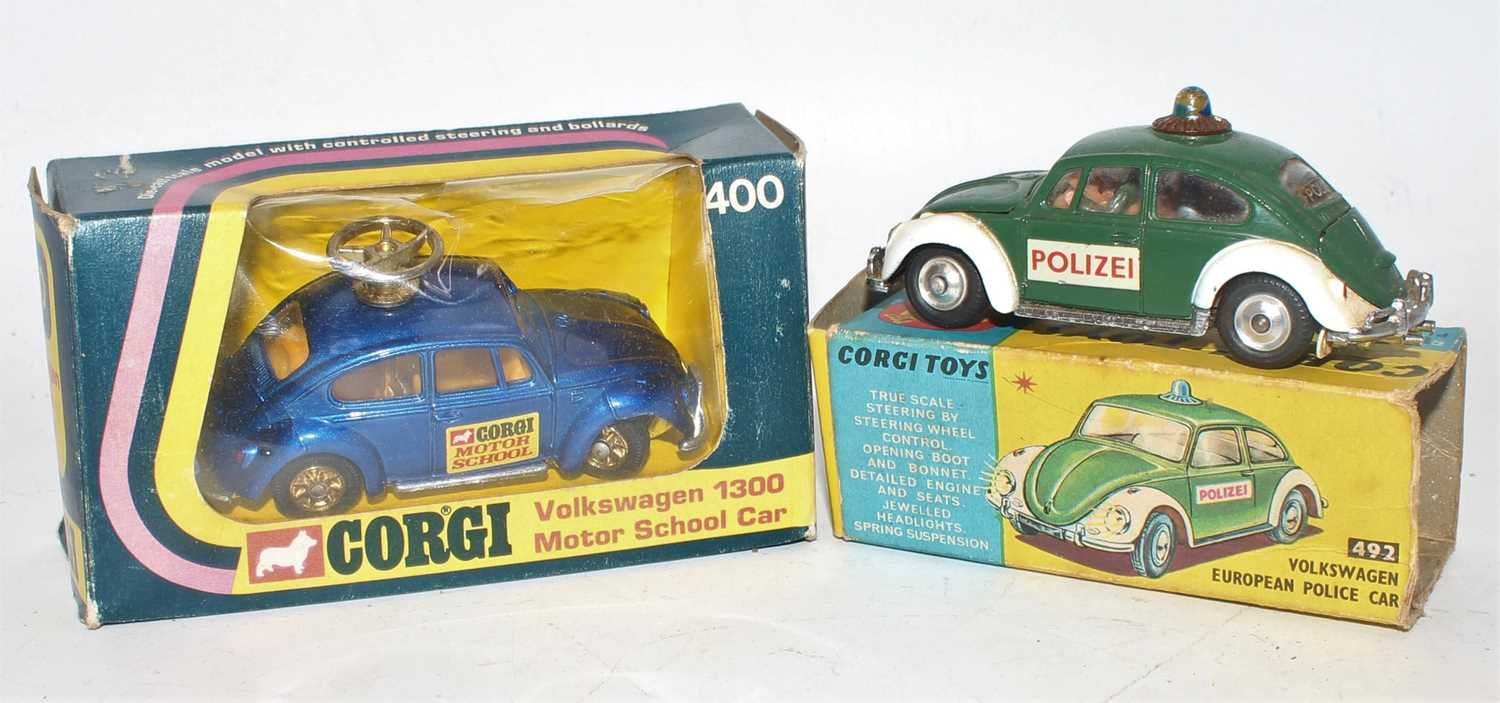 A Corgi Toys boxed Volkswagen saloon group, to include a No. 400 VW 1300 motor school car, housed in