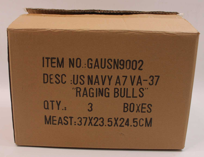 A Gemini Aces trade box containing three model No.GAUSN9002 1:72 US Navy Raging Bulls LTV A-7E