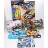 Eight Meccano set and two others:- nuts and bolts hammerhead crane (M), Tronic tractor (M),