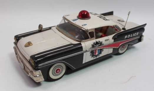 Yonezawa of Japan, tinplate and battery-operated Ford Highway Patrol Police Car, black and white