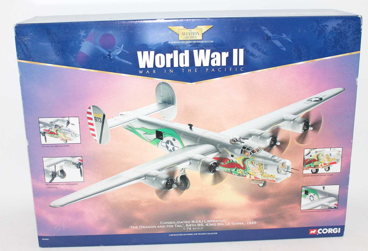 A Corgi Aviation Archive model No. AA34001 1/72 scale diecast model of a Consolidated B-24J
