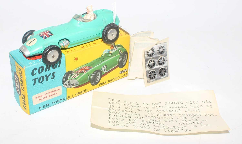 Corgi Toys, 152S BRM Formula 1 Grand Prix Racing Car, turquoise body with Union Jack on Bonnet, RN7,