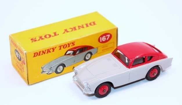 Dinky Toys No.167 Aceca Coupe in grey and red body with red hubs in the original correct colour spot