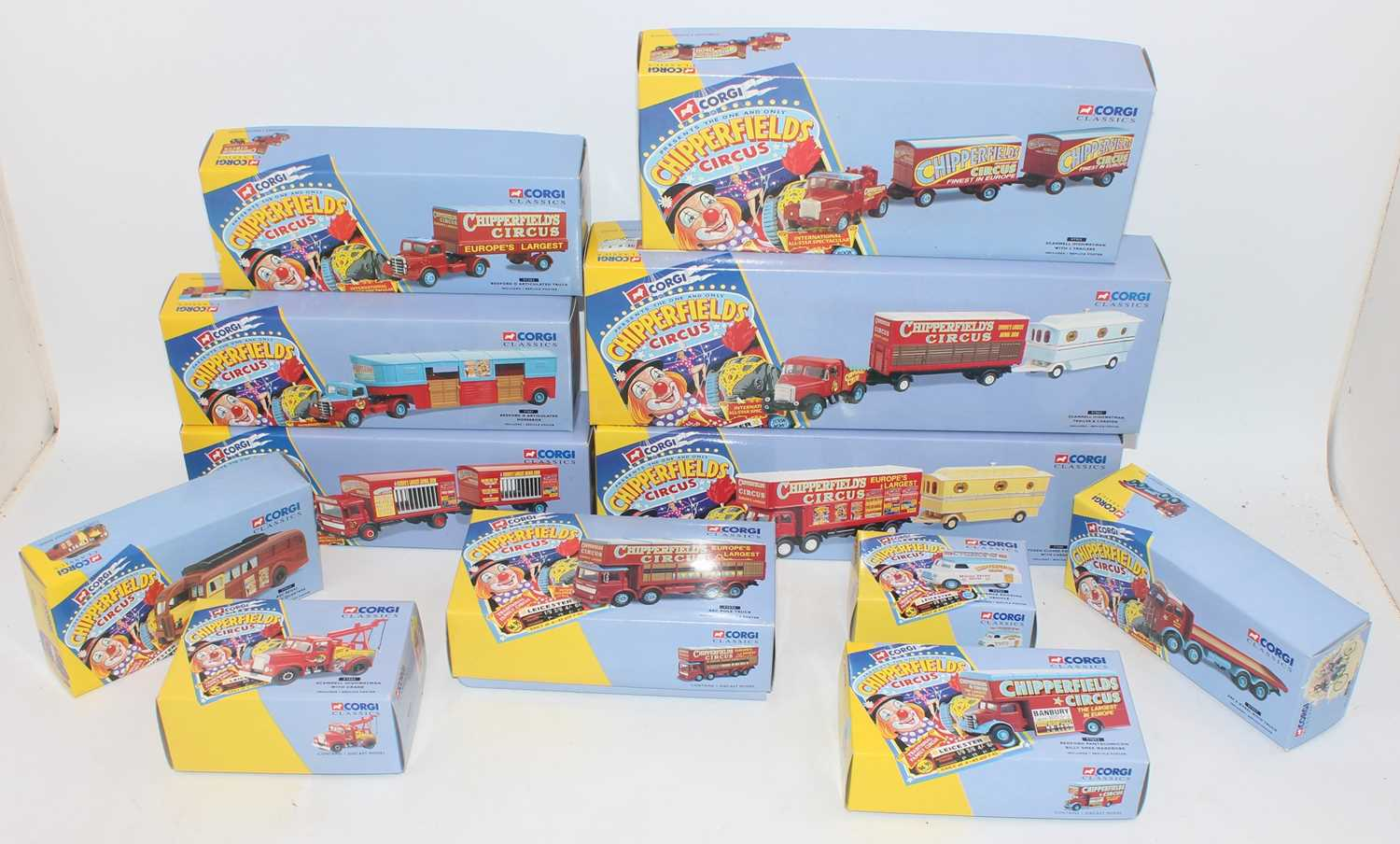 Twelve various boxed as issued Corgi Classics Chipperfield Circus diecasts, all in original boxes to