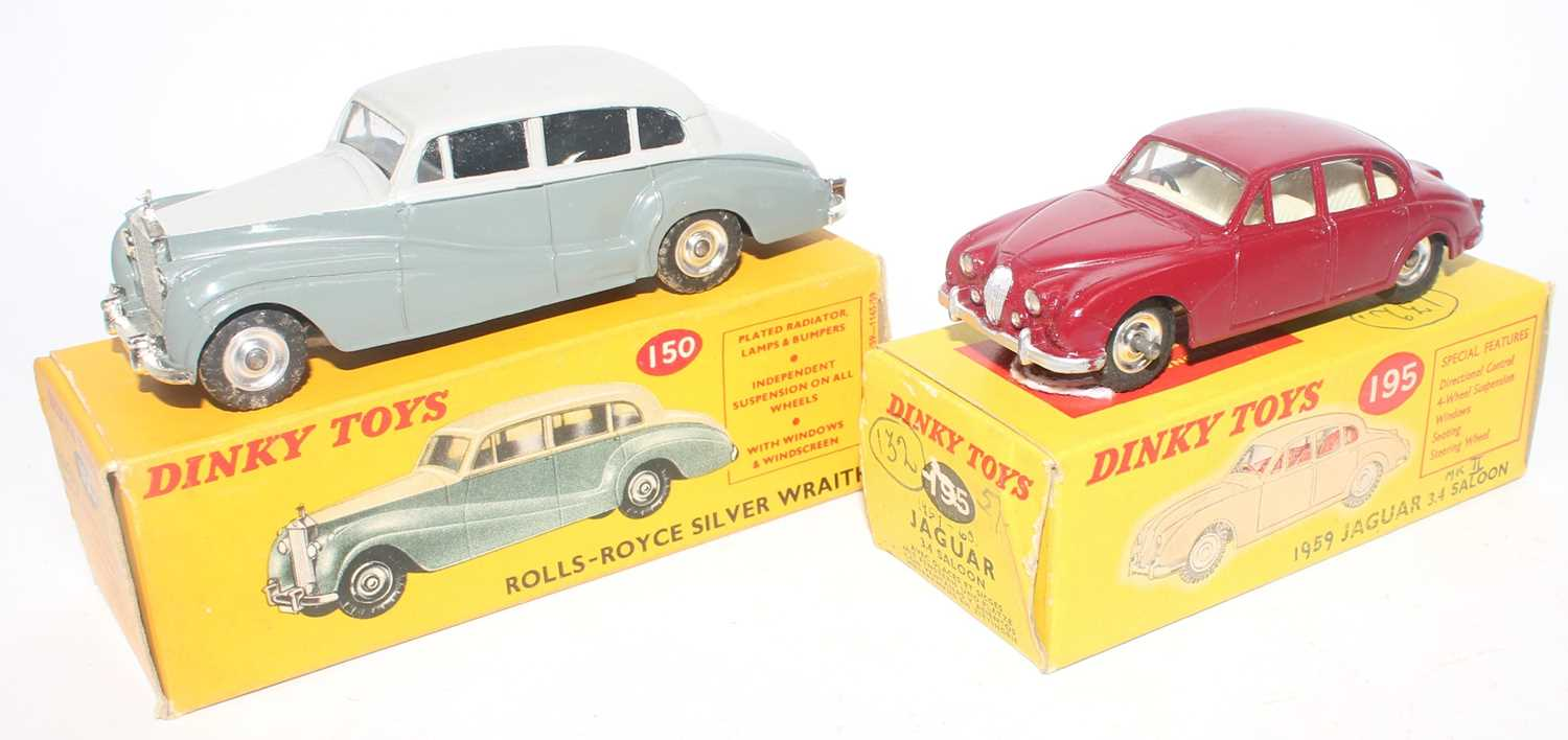 Dinky Toys boxed saloon diecast group to include a No. 150 Rolls Royce Silver Wrath comprising of