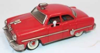 """Mizuno of Japan, tinplate and battery operated model of a Buick Style """"Electromobile"""" Car, red"""