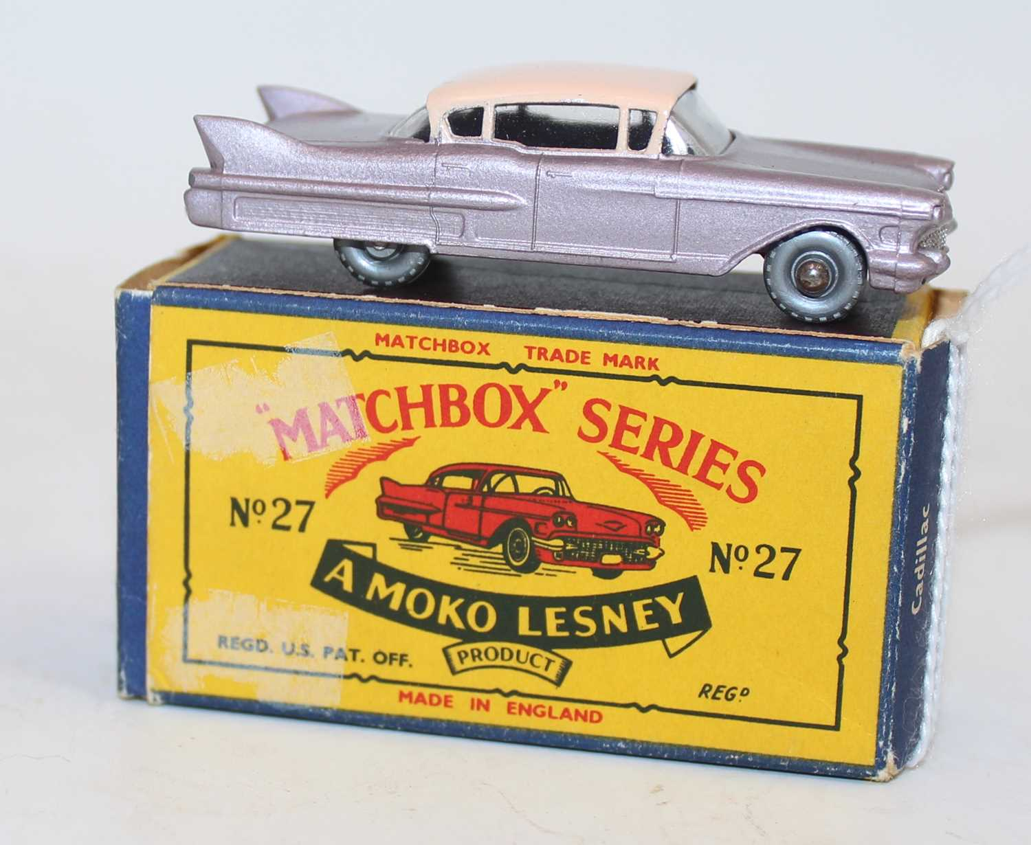 Matchbox Lesney 1-75 series No.27C Cadillac Sedan in metallic lilac body with pink roof and - Image 2 of 2