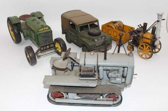 4 various reproduction Tinplate/Pressed Metal models to include John Deere Tractor, Land Rover, - Image 2 of 2